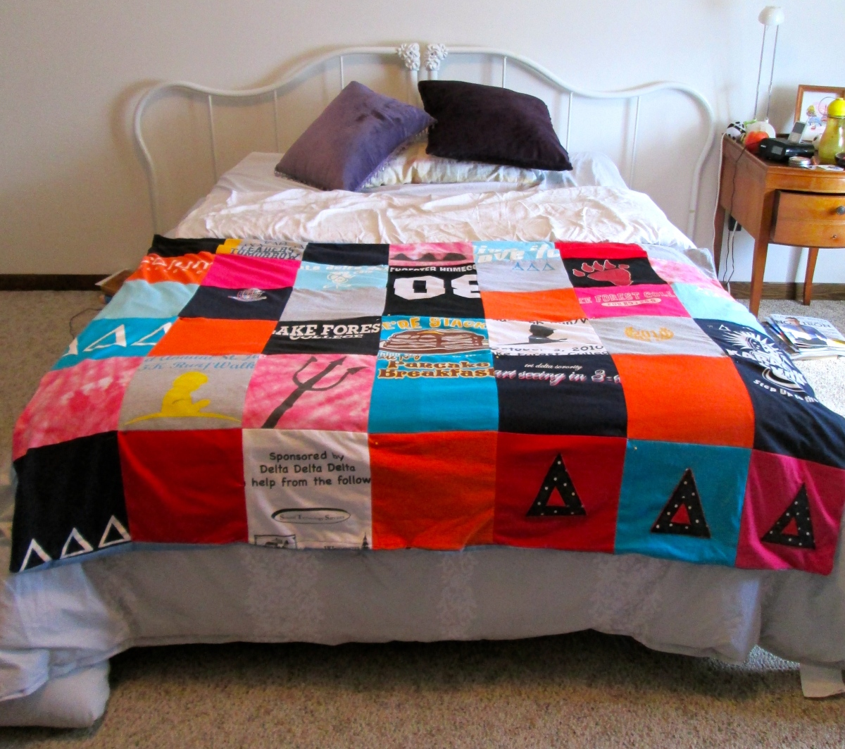 College Or Sorority T Shirt Blanket Quilt