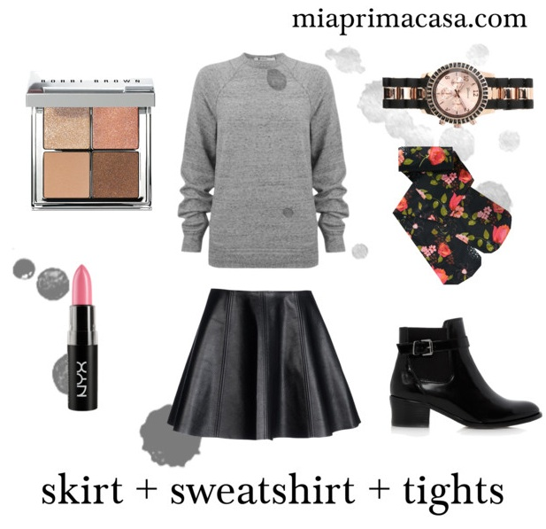 My Uniform  skirt + sweatshirt + tights miaprimacasa.com 2