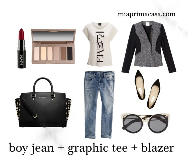 My Style Uniform: Boy Jeans + Graphic Tee + Blazer on miaprimacasa.com 3