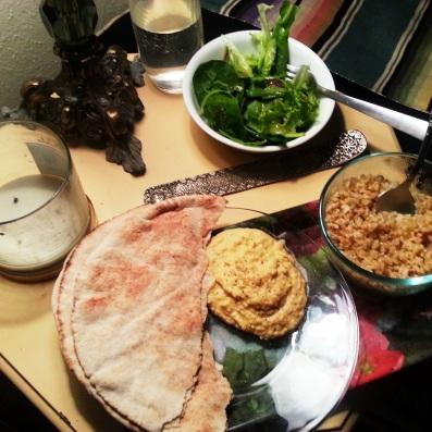 vegan mean with homemade hummus