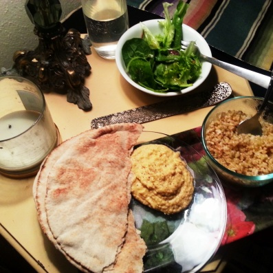 vegan mean with homemade hummus